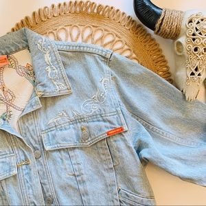 Vintage Jordache Embroidered Pearl Denim Jacket